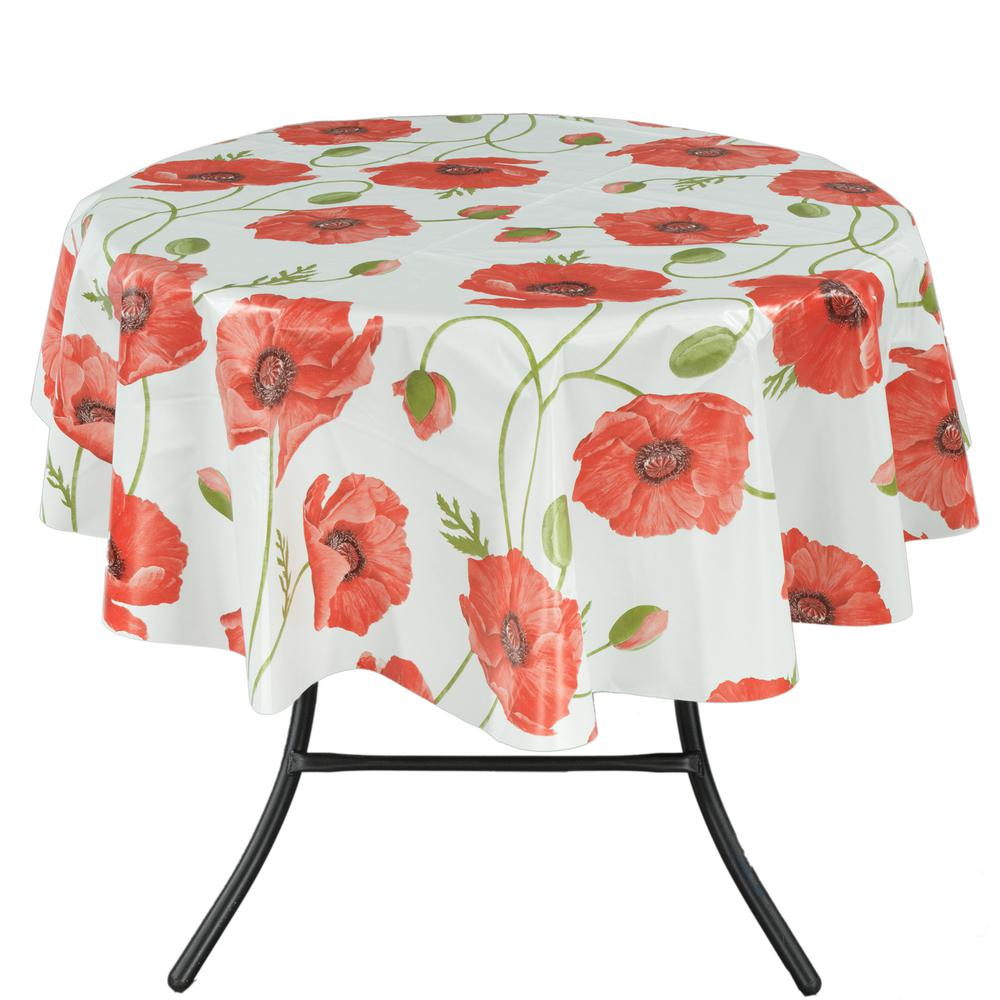 55 in. Round Indoor and Outdoor Red Poppy Flower Design Tablecloth