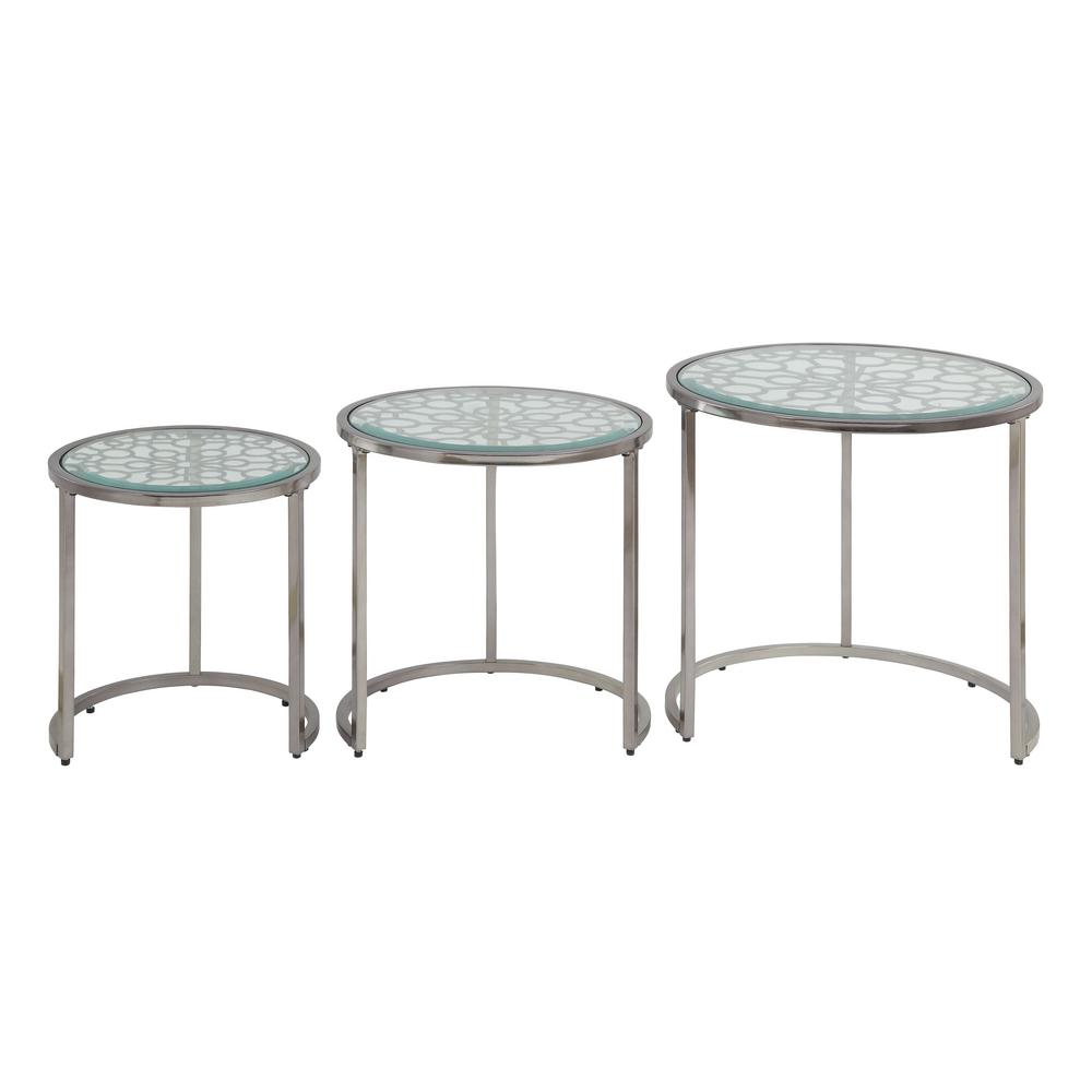 Acme Furniture Velia Silver And Clear Gl 3 Piece Nesting Table Set