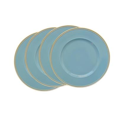 Blue Melamine Charger Plates with Gold Rim (4-Pack)