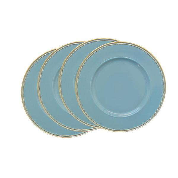 Elle Decor Blue Melamine Charger Plates with Gold Rim (4-Pack) 1270497-4