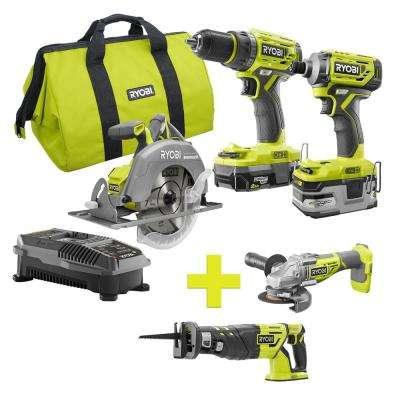 18-Volt ONE+ Lithium-Ion Cordless Brushless Combo Kit (3-Tool) w/Bonus Reciprocating Saw and Angle Grinder