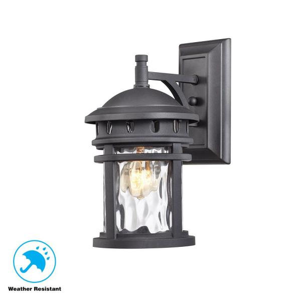 Home Decorators Collection Scroll 1-Light Black Outdoor Small Wall Mount Lantern