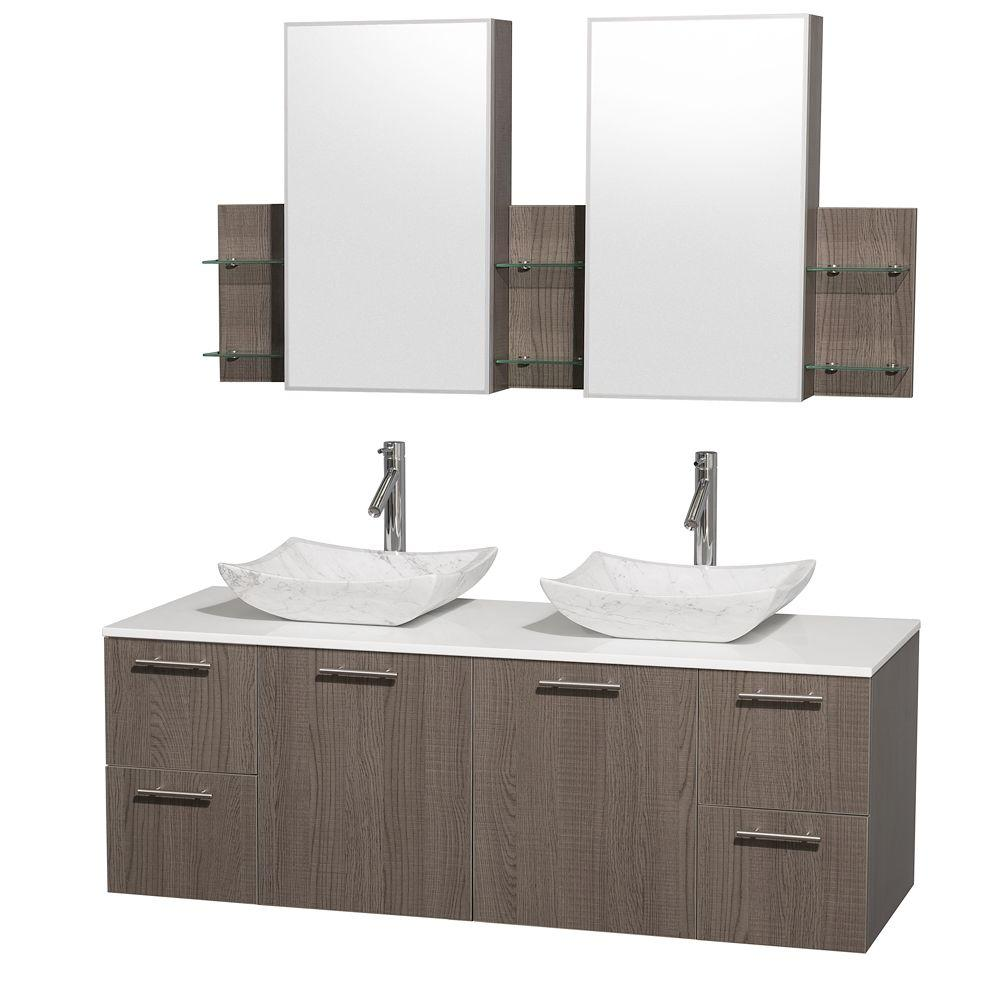 Wyndham Collection Amare 60 in. Double Vanity in Grey Oak with Man-Made Stone Vanity Top in White and Carrara Marble Sinks