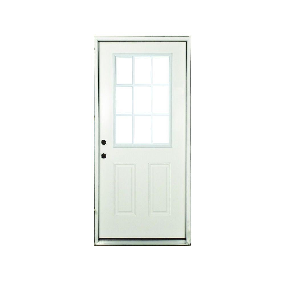 Reviews For Steves Sons 36 In X 80 In Premium Right Hand White 9 Lite External Grille Primed Fiberglass Prehung Front Door Smf9lcpr3680ri The Home Depot