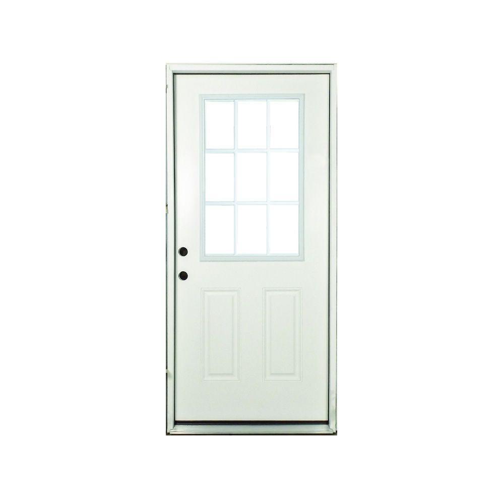36 in. x 80 in. Premium Right-Hand White 9-Lite External Grille Primed Fiberglass Prehung Front Door