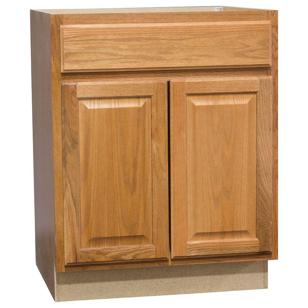 Hampton Bay Hampton Assembled 27x34 5x24 In Base Kitchen Cabinet With Ball Bearing Drawer Glides In Medium Oak