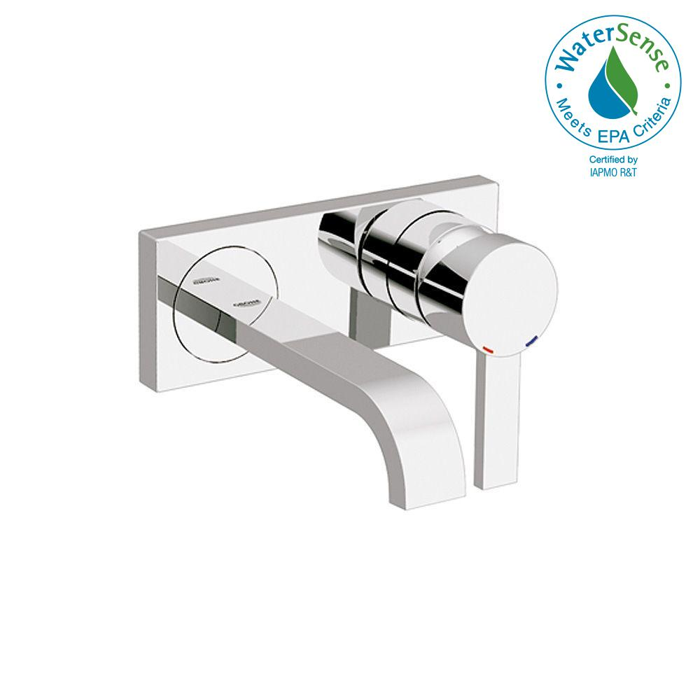 Grohe Allure Double Hole Single Handle Wall Mount Vessel Bathroom Faucet In Starlight Chrome