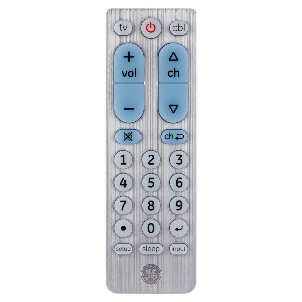 2-Device Universal Remote Control, Big Button, Silver