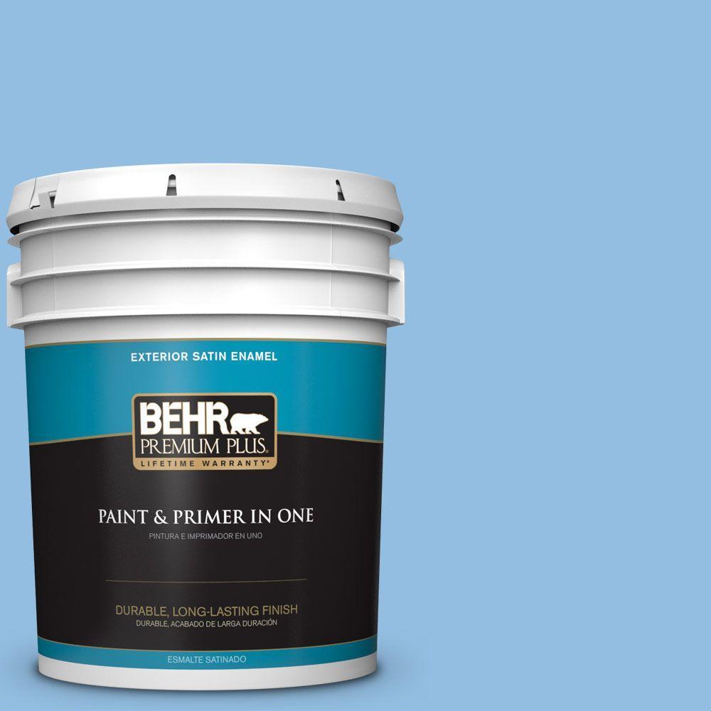 BEHR Premium Plus 5-gal. #P520-3 Toile Blue Satin Enamel Exterior Paint