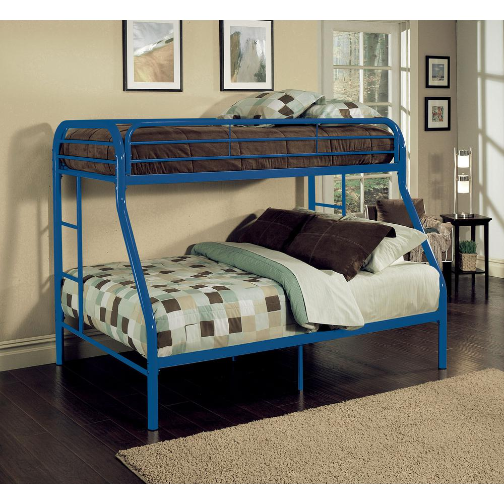 Twin Over Full Metal Bunk Bed Blue Tritan