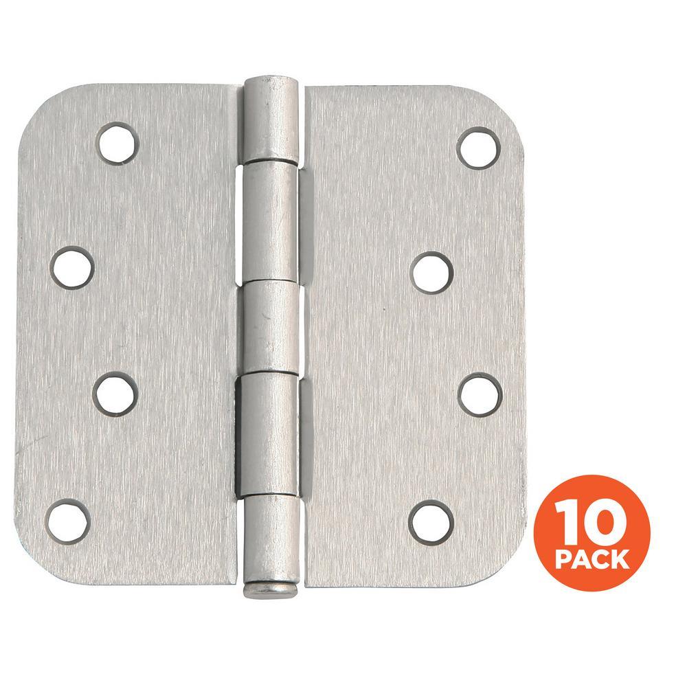4 in. x 5/8 in. Radius Satin Nickel Door Hinge Value Pack (10 per Pack)