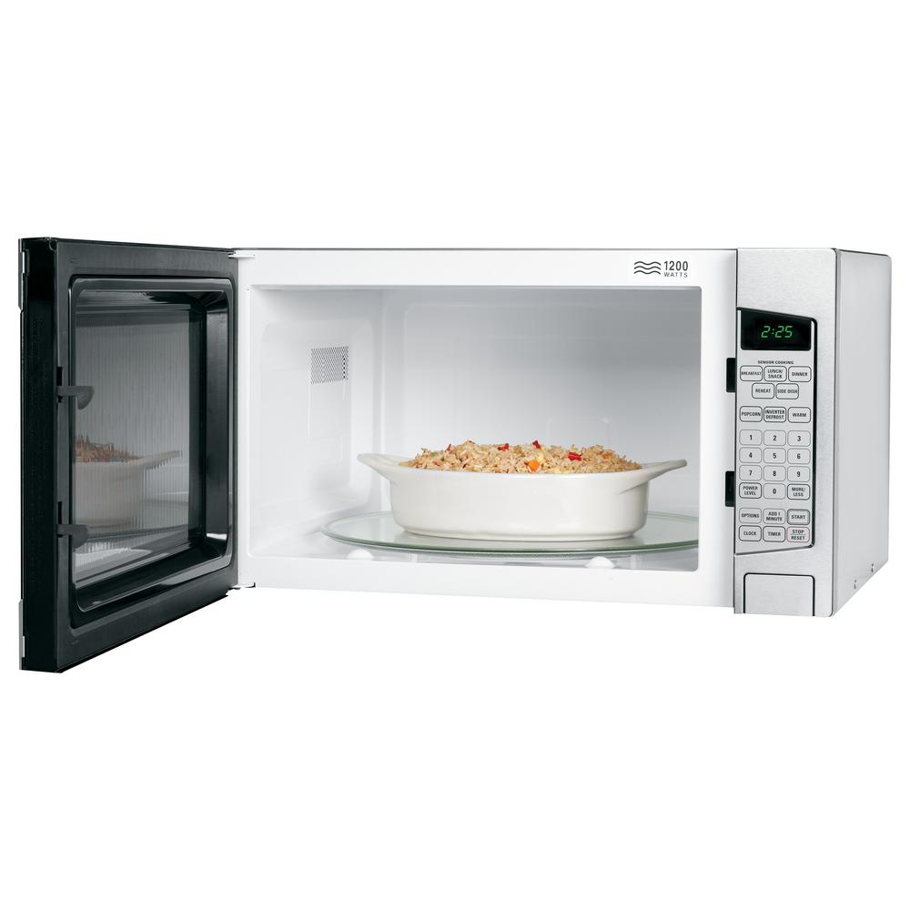 Ge Profile 2 Cu Ft Countertop Microwave In Stainless Steel With Defrost And Sensor Controls