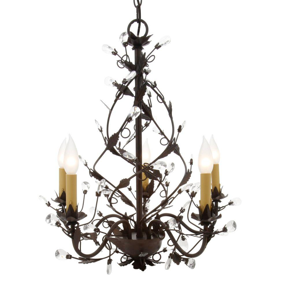 Hampton Bay 5-Light Tuscan Copper Chandelier