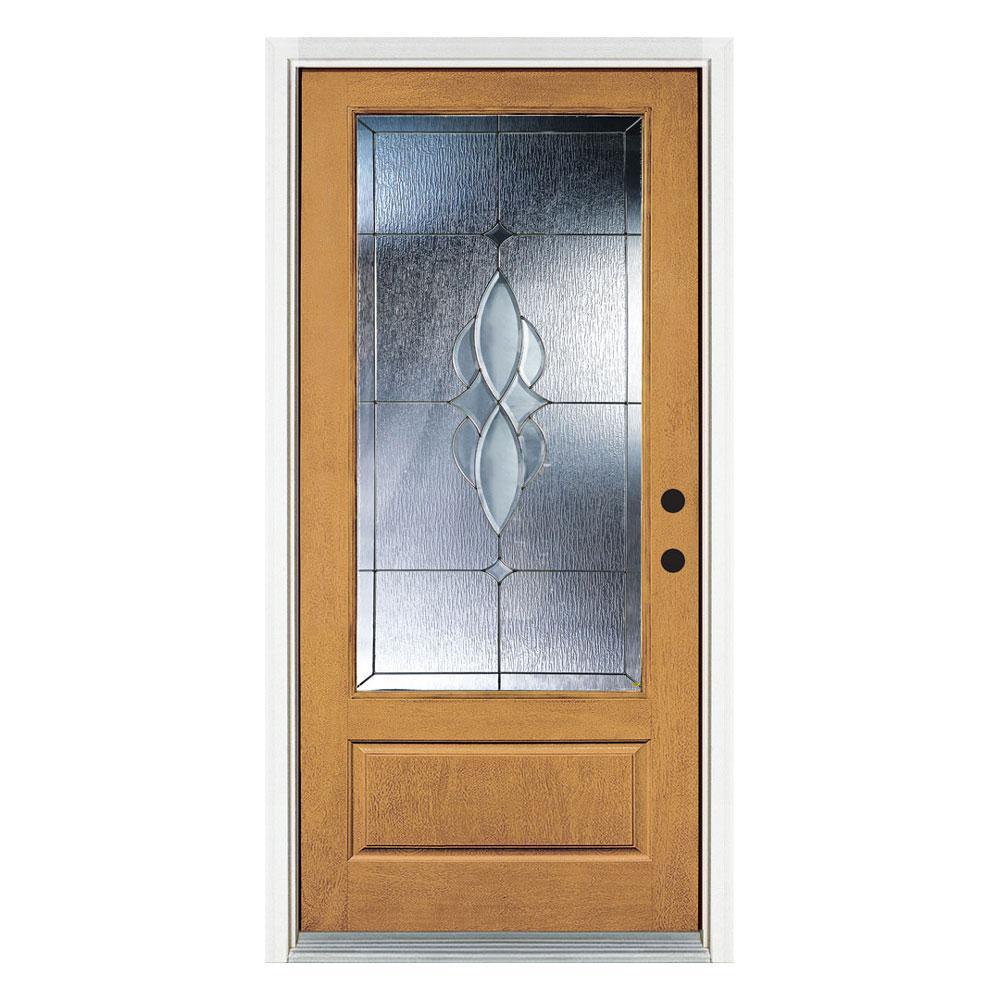 36 in. x 80 in. Scotia Light Oak Left-Hand Inswing 3/4 Lite Decorative Fiberglass Prehung Front Door