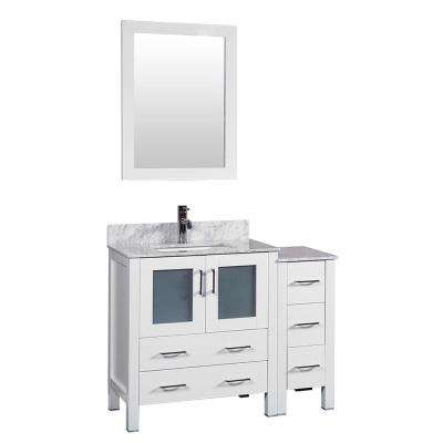 42 in. W Single Bath Vanity in White with Carrara Marble Vanity Top with White Basin and Mirror
