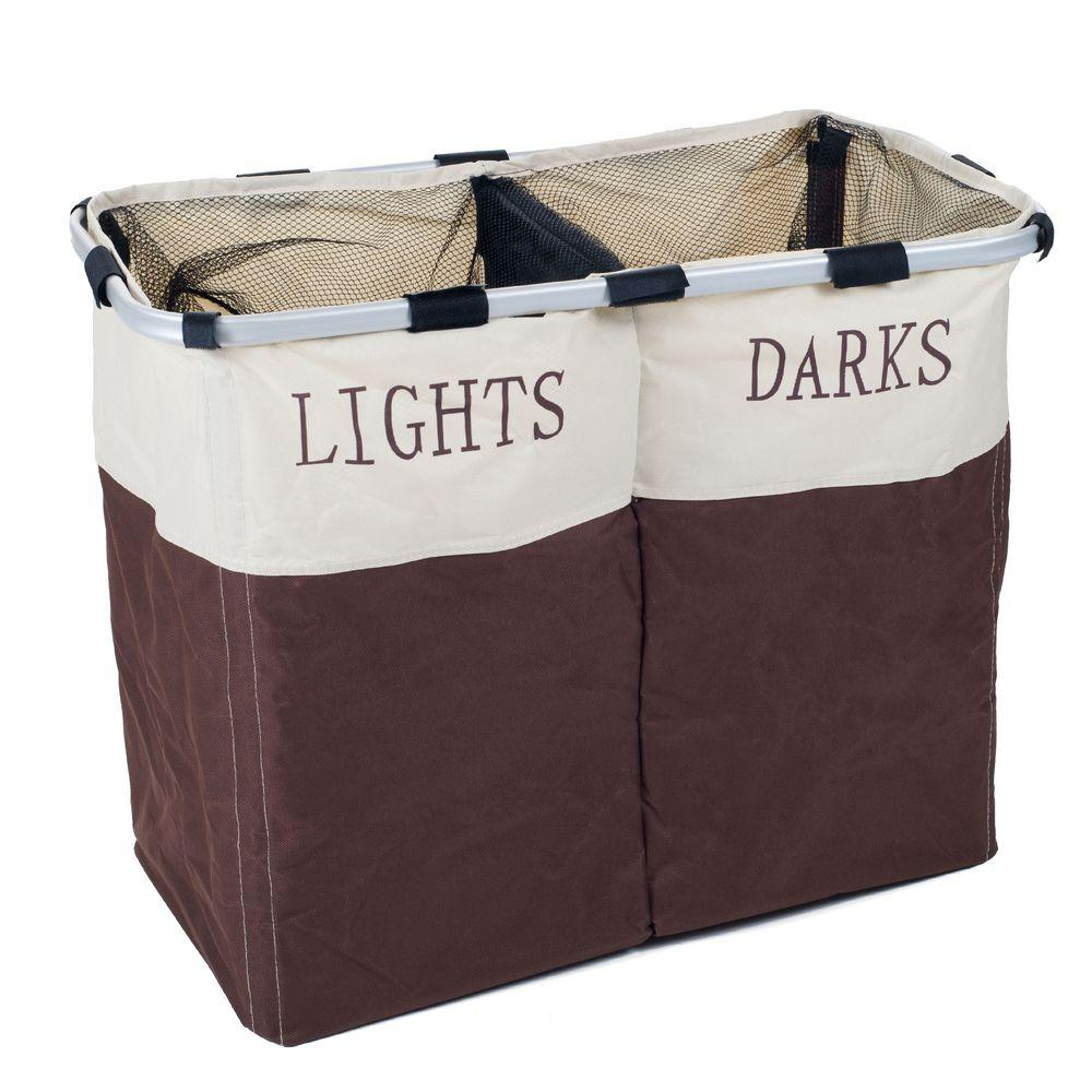 Foldable Double Laundry Hamper, Brown And White