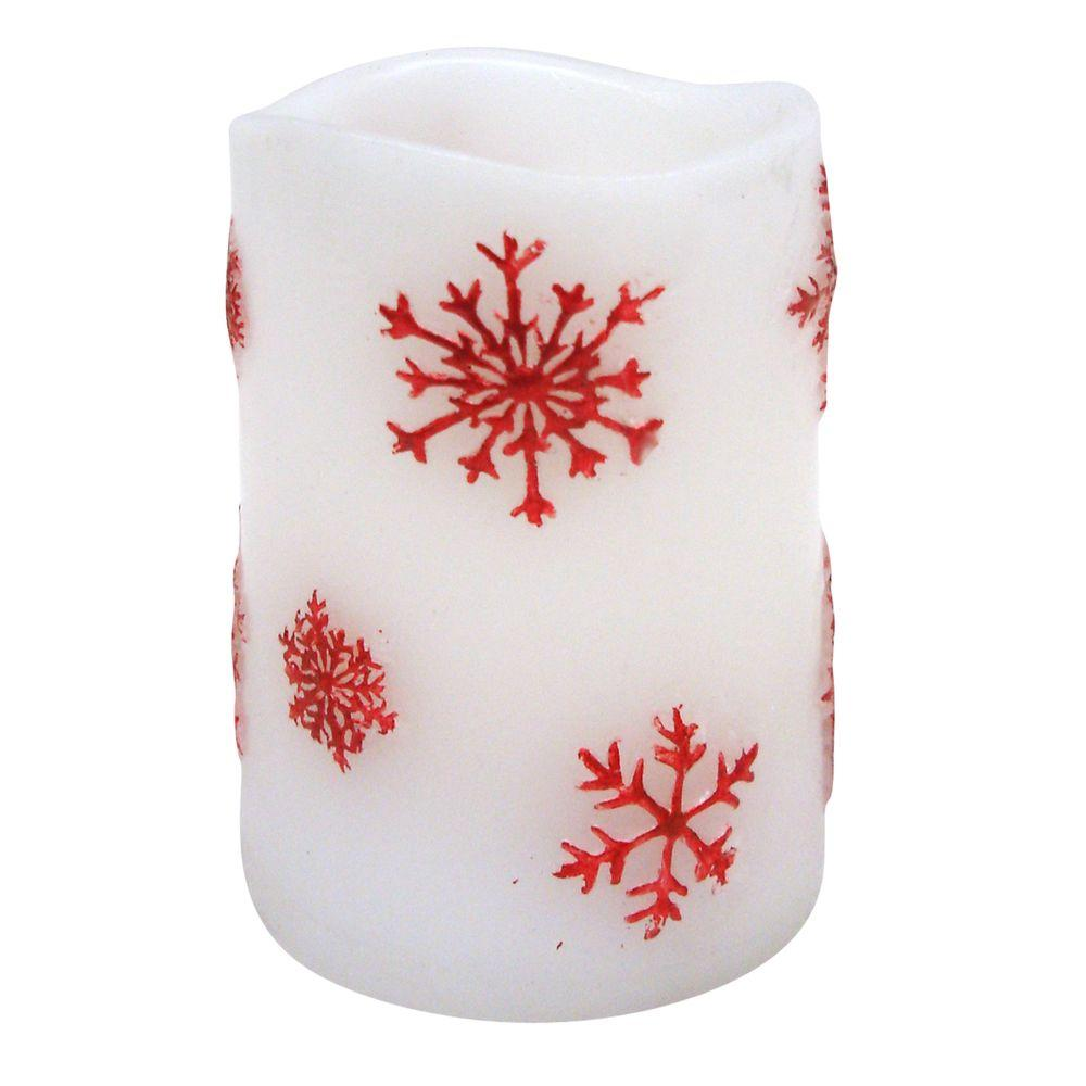 Brite Star 3 In X 4 Flameless Led Candle Embedded Red Snowflake Thread Realistic Electric Flickering Pillar Candles