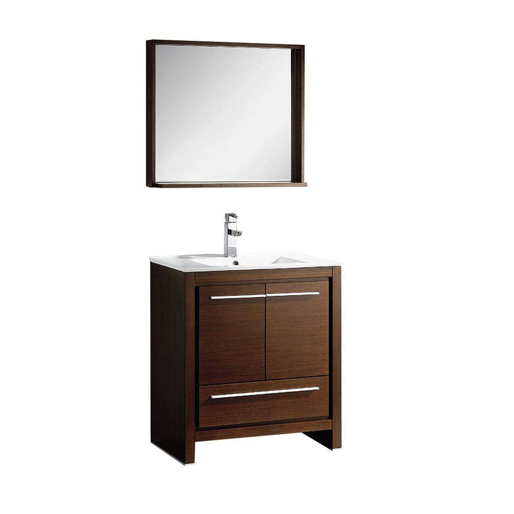 Fresca allier 30 in vanity in wenge brown with ceramic for Miroir wenge