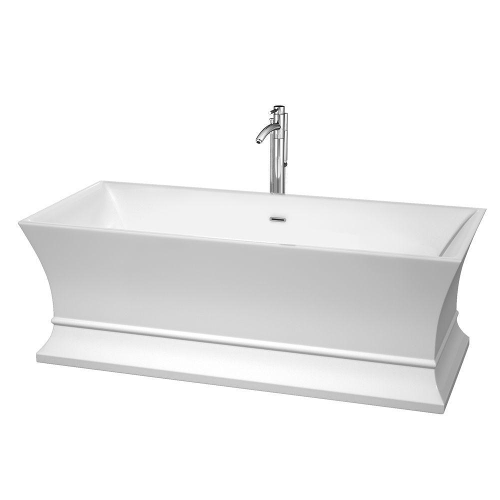 Acrylic Classic Flatbottom Non Whirlpool Bathtub In White