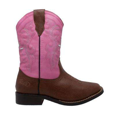 Girls Size 1 Pink/Brown Faux Leather 8 in. Western Cowboy Boots