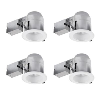 """Globe Electric 5/"""" LED IC Rated Swivel Round Trim Recessed Lighting Kit 4-Pack,"""