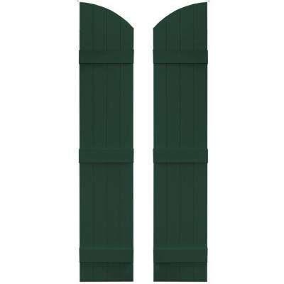 14 in. x 65 in. Board-N-Batten Shutters Pair, 4 Boards Joined with Arch Top #122 Midnight Green