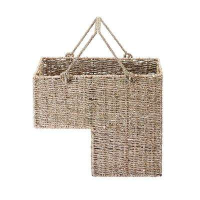 8 in. W x 14 in. H Handmade Wicker Staircase Basket with Handles in Natural