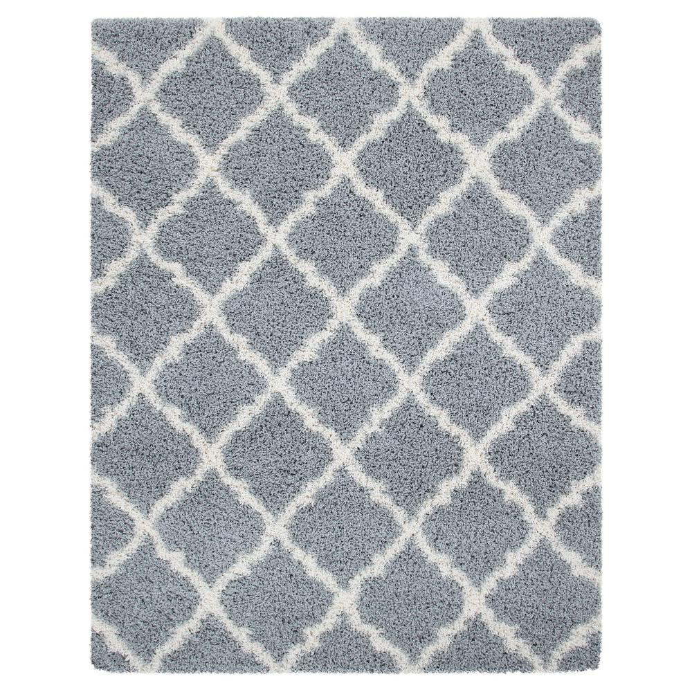 Ottomanson Ultimate Shag Contemporary Moroccan Trellis Design Grey 8 ft. x 10 ft. Area Rug, Gray was $131.49 now $98.62 (25.0% off)