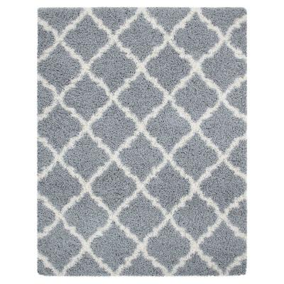 Ultimate Shag Contemporary Moroccan Trellis Design Grey 8 ft. x 10 ft. Area Rug