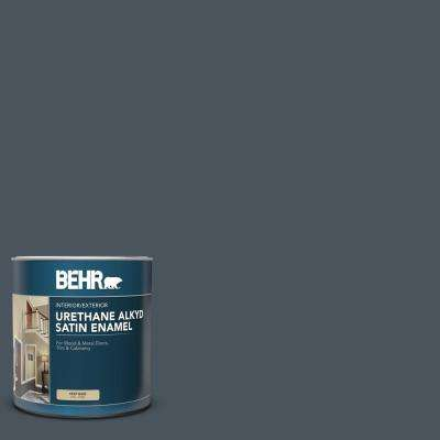 1 qt. #N480-7 Midnight Blue Satin Enamel Urethane Alkyd Interior/Exterior Paint