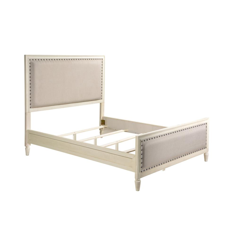 White Wash King Set Wood Upholstered Trim