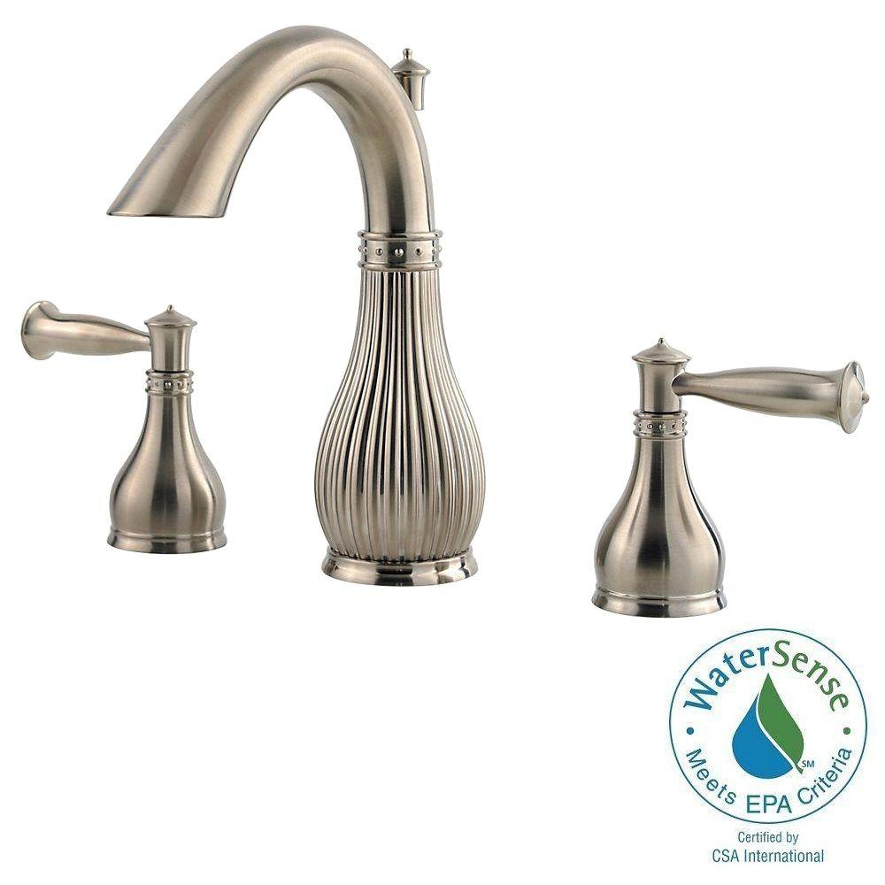 Pfister Virtue 8 in. Widespread 2-Handle High-Arc Bathroom Faucet in Brushed Nickel