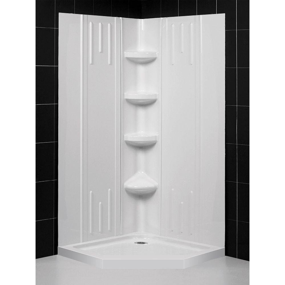 DreamLine QWALL-2 36 in. x 36 in. x 75-5/8 in. Standard Fit Shower Kit in White with Shower Base and Back Wall