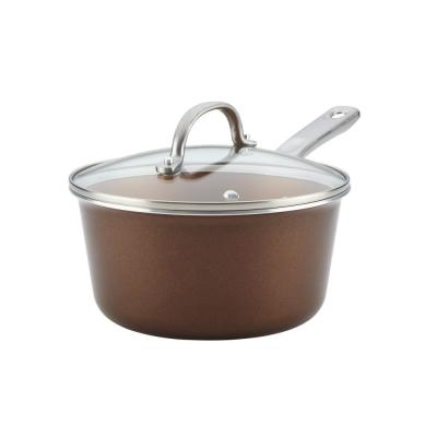 Home Collection 3 qt. Aluminum Nonstick Sauce Pan in Brown Sugar with Glass Lid