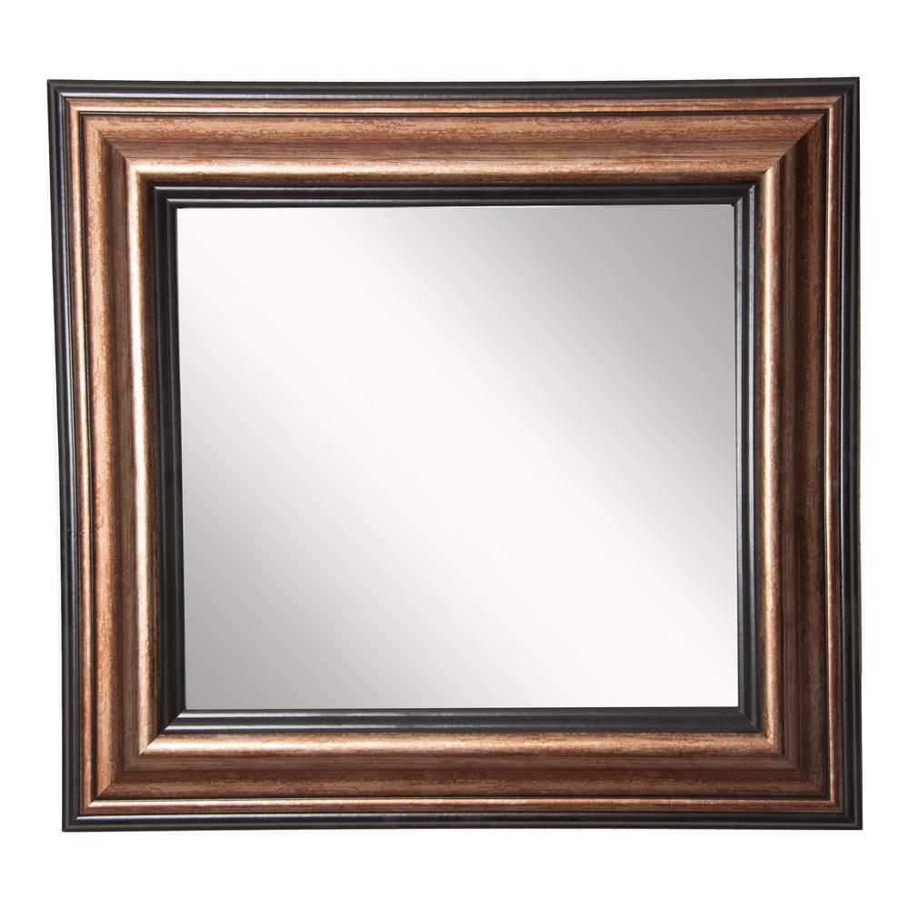 34 in. W x 34 in. H Framed Square Bathroom Vanity Mirror in Bronze