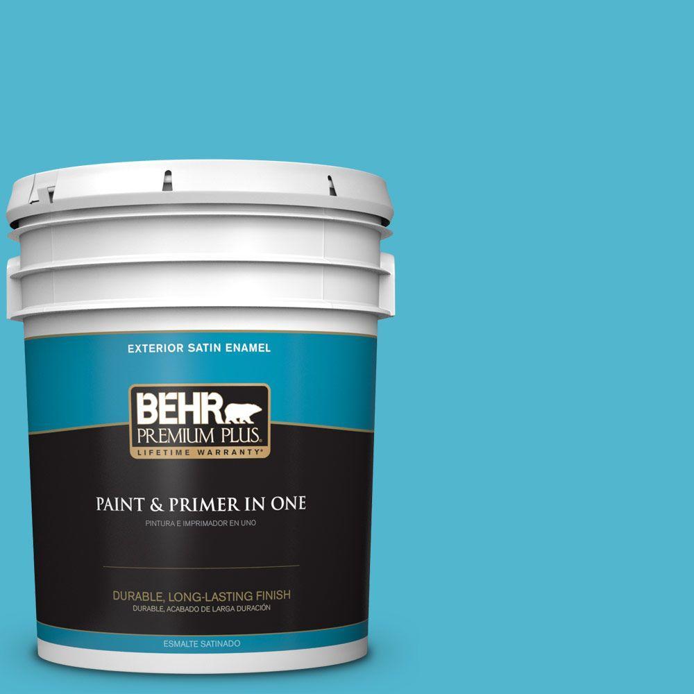 BEHR Premium Plus 5-gal. #520B-5 Liquid Blue Satin Enamel Exterior Paint