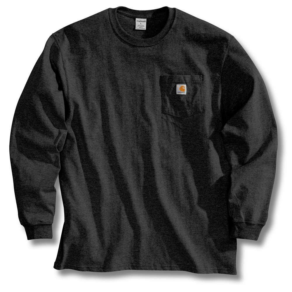 Men's Tall X Large Black Cotton Long-Sleeve T-Shirt