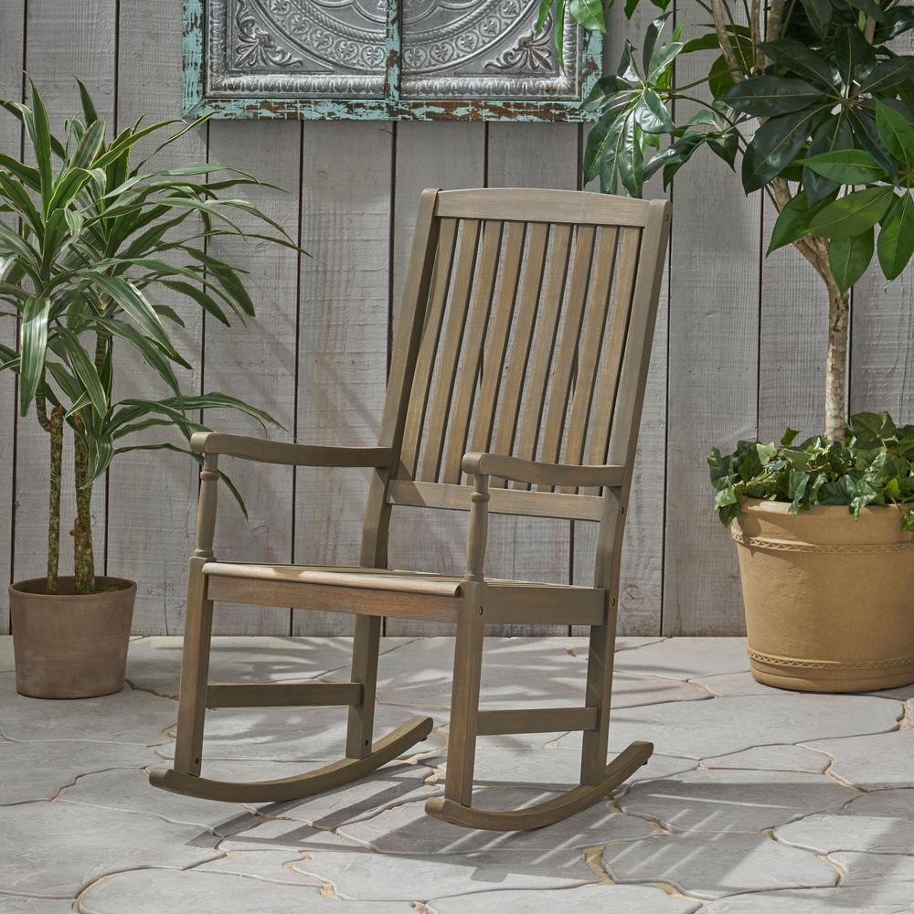 Arcadia Grey Wood Outdoor Rocking Chair