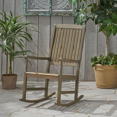 Arcadia Grey Wood Outdoor Rocking Chair
