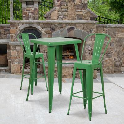 3-Piece Metal Square Outdoor Bistro Set in Green