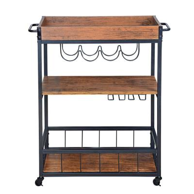 Utopia Alley Rustic, Industrial Bar Cart with Removable Top Tray