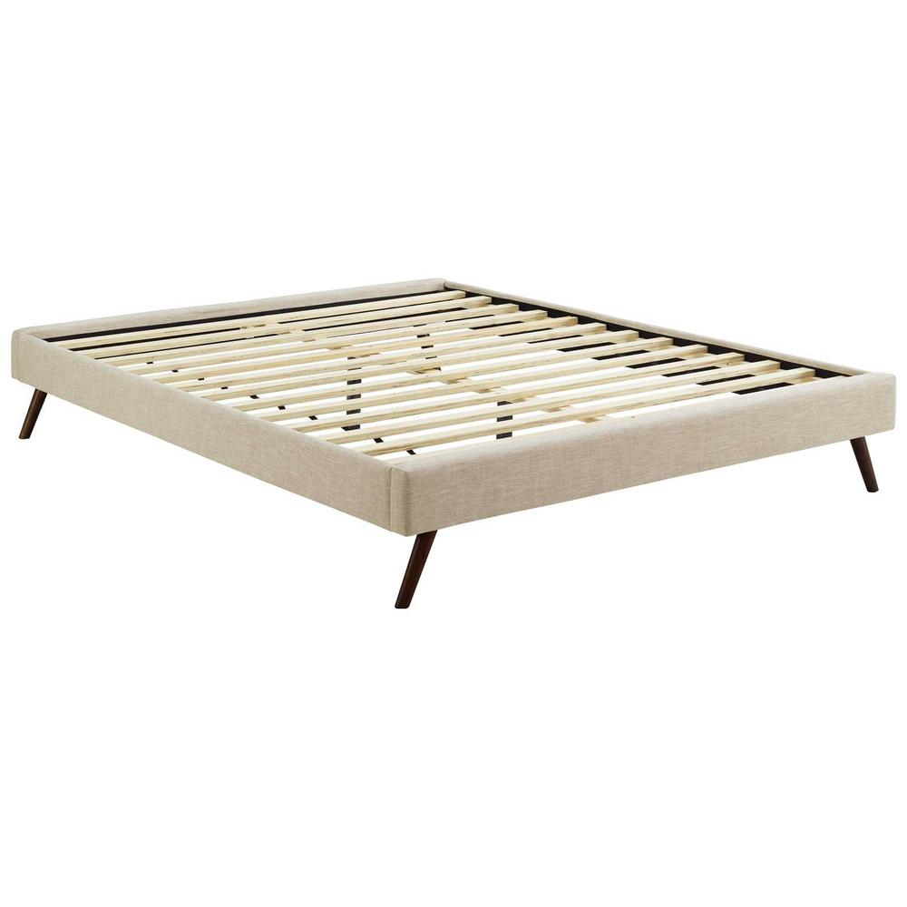 Loryn Beige Queen Bed Frame with Round Splayed Legs
