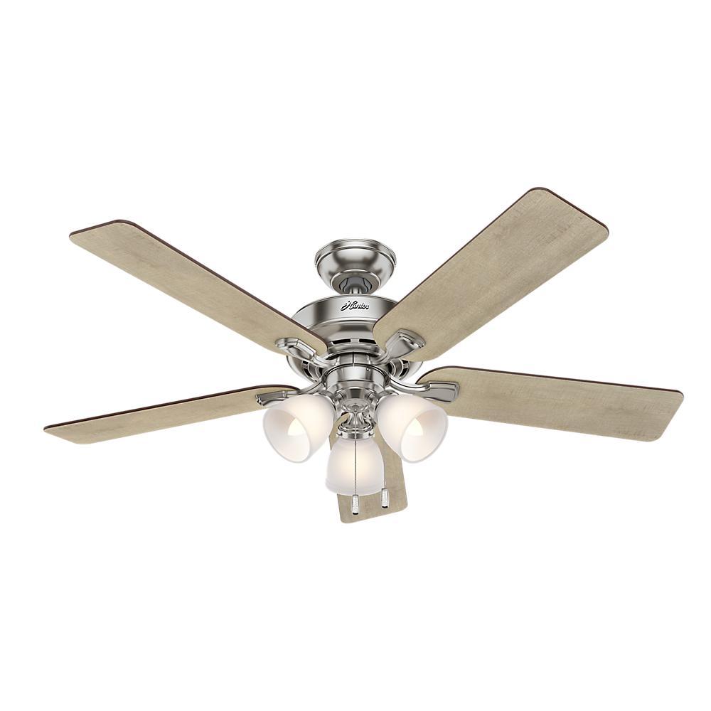 Pro Desk 52 in. 3-Light Indoor Brushed Nickel Ceiling Fan