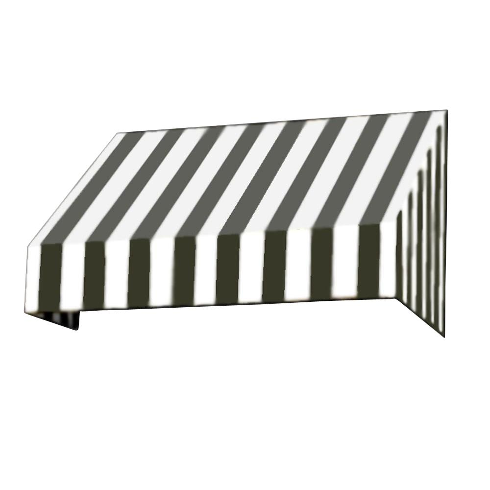 AWNTECH 50 ft. New Yorker Window/Entry Awning (44 in. H x 48 in. D) in Black / White Stripe