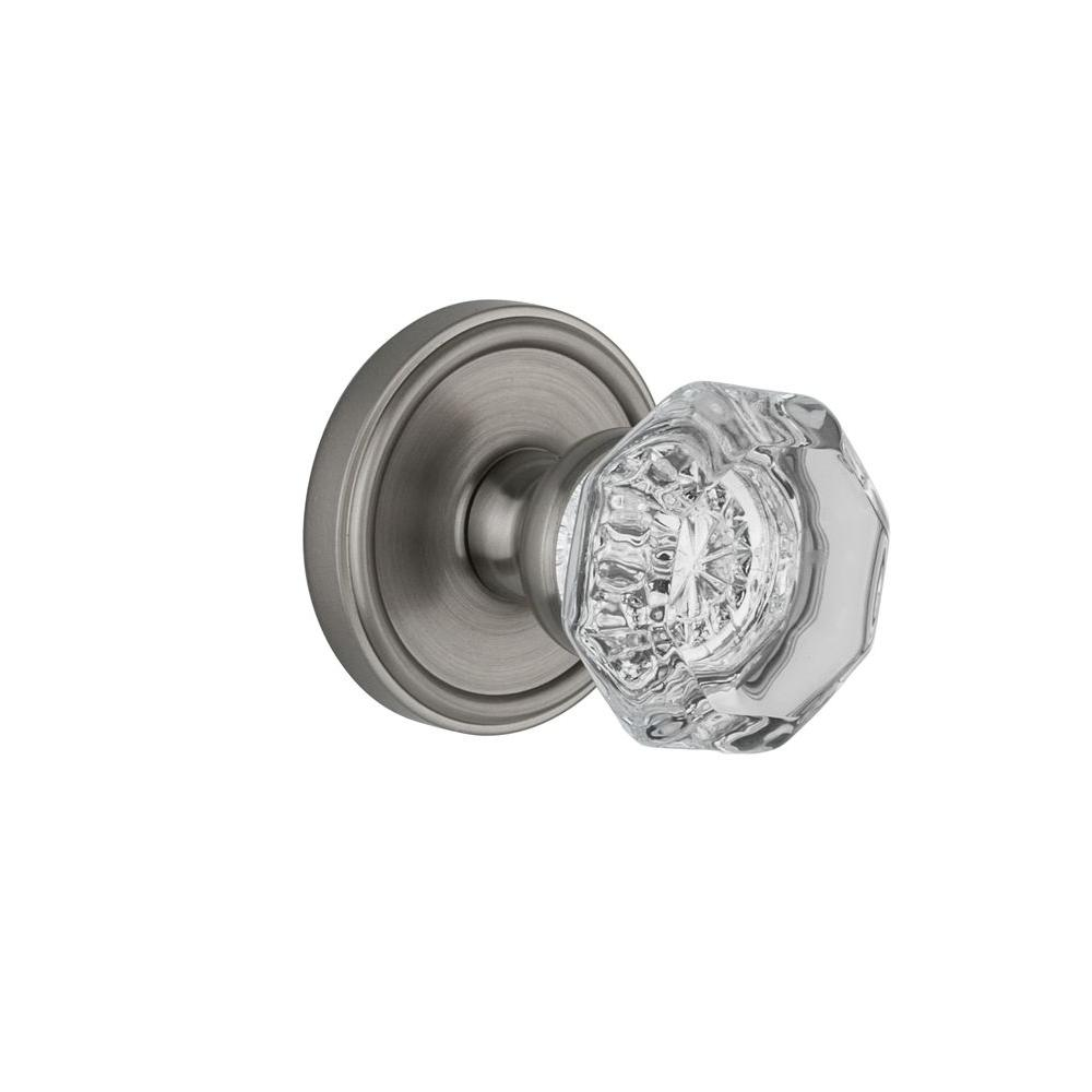 Grandeur Georgetown Rosette Satin Nickel with Passage Chambord Knob