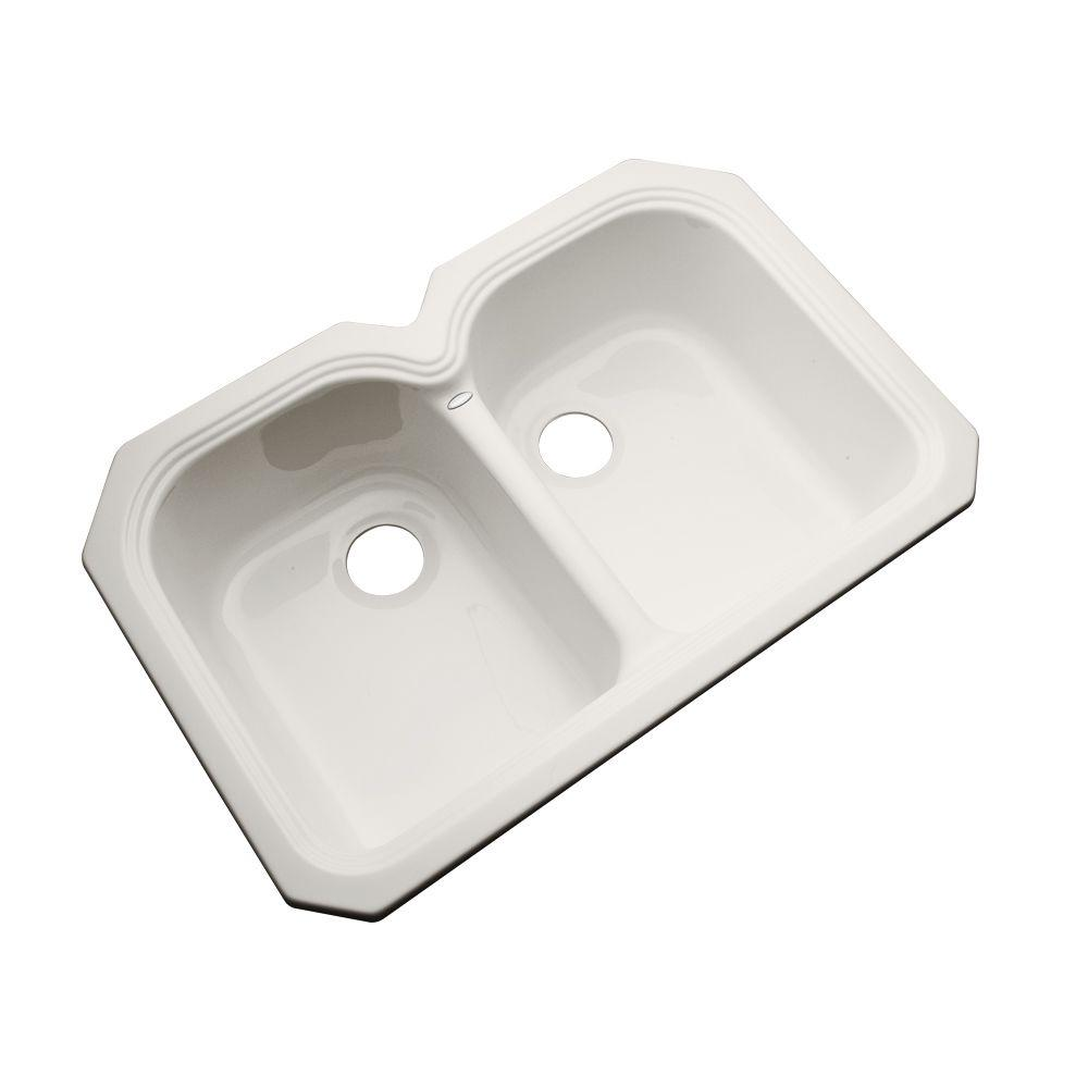Hartford Undermount Acrylic 33 in. 0-Hole Double Bowl Kitchen Sink in