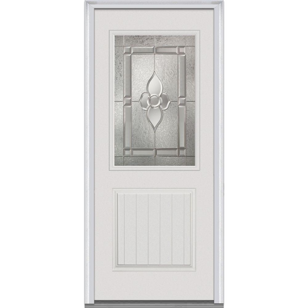 Milliken Millwork 32 in. x 80 in. Master Nouveau Decorative Glass 1/2 Lite 1-Panel Primed White Fiberglass Smooth Prehung Front Door