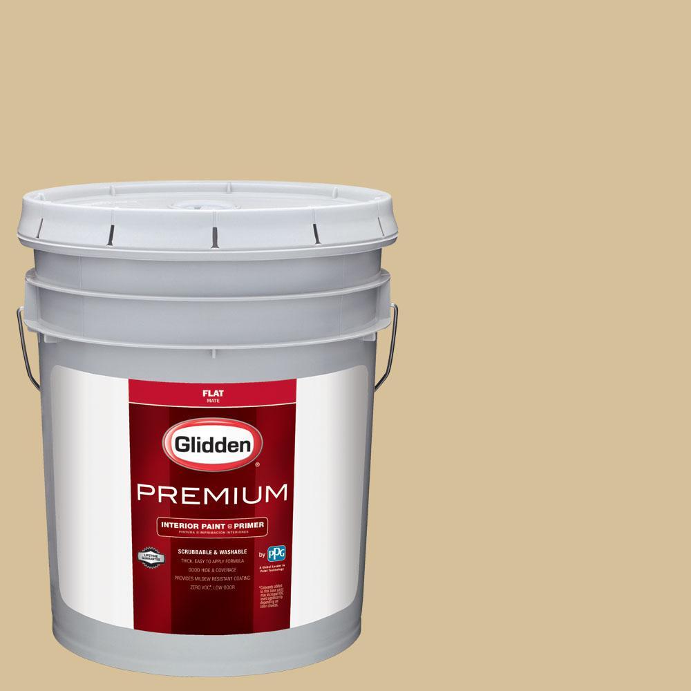 Glidden Premium 5 gal. #BB-028C Arizona Diamondbacks Sand Flat Interior Paint with Primer