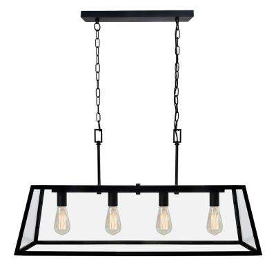 4-Light Matte Black Kitchen Island Light Chandelier with Clear Glass Shade