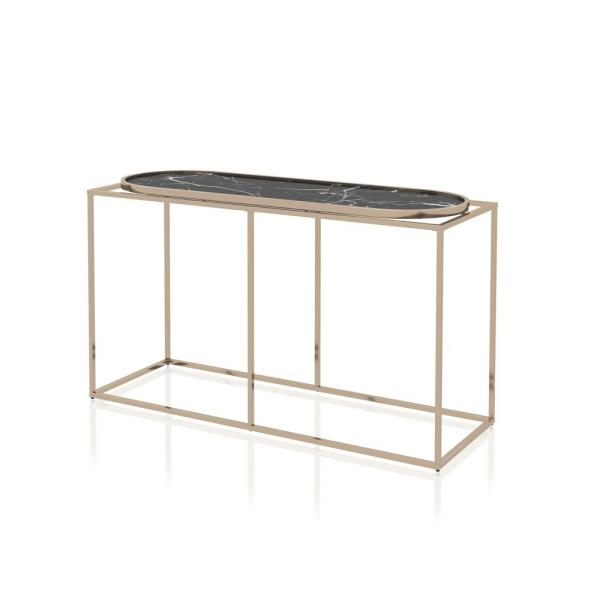 Osanna 29.5 in. H Black Marble Console Table